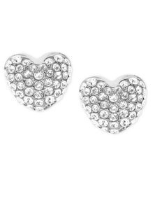 Michael Kors NWT MICHAEL KORS PAVE HEARTS STUD EARRINGS SILVER TONE W BAG MKJ6319