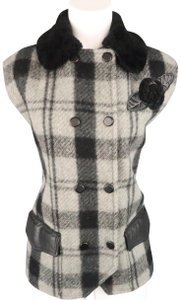 Iceberg Plaid Wool Leather Shearling Applique Vest