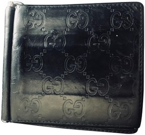 Gucci GUCCI Black Guccissima Leather Avel Bifold Wallet with Money Clip Insi