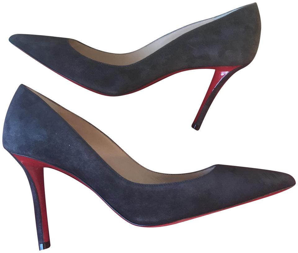 88626a341c78 Christian Louboutin Dark Grey Apostrophy 85 Suede Heels Pumps Size ...