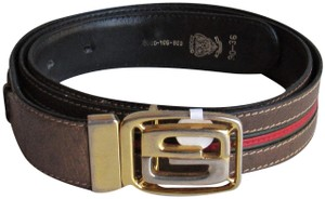 74d11157211b9f Gucci GUCCI Shelly Line Vintage Brown Leather Red & Green Trim Women's Belt