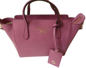 Gucci Leather Italian Logo Tote in Pink