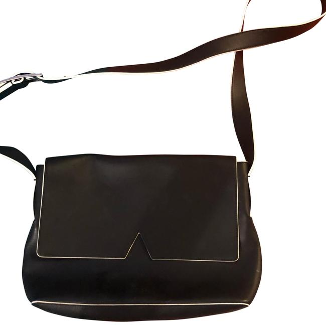 Item - Signature Baby Black with White Leather Cross Body Bag
