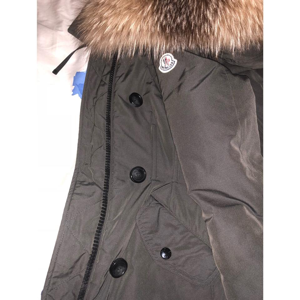 f7a83b9cd Moncler Olive Green/Army Green Arriette Fur-trim Puffer Coat Size 0 (XS)