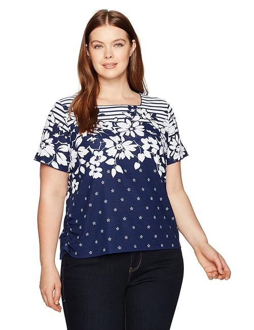 Preload https://img-static.tradesy.com/item/22817658/alfred-dunner-navy-floral-print-blouse-size-6-s-0-2-650-650.jpg