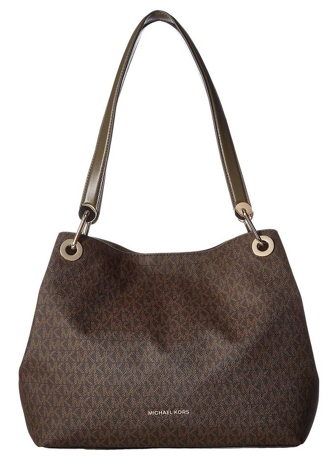 95cebf2be1edb Michael Kors Raven Large Logo Mk Signature Tote Handbag Purse Shoulder Bag  Image 0 ...
