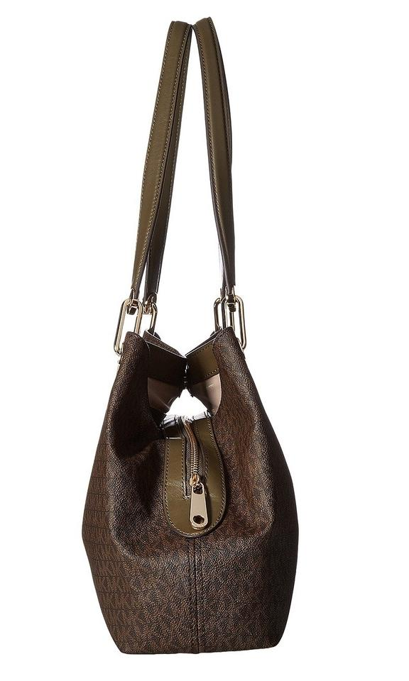 830adc179473 Michael Kors Raven Large Logo Mk Signature Tote Handbag Purse Shoulder Bag  Image 5. 123456