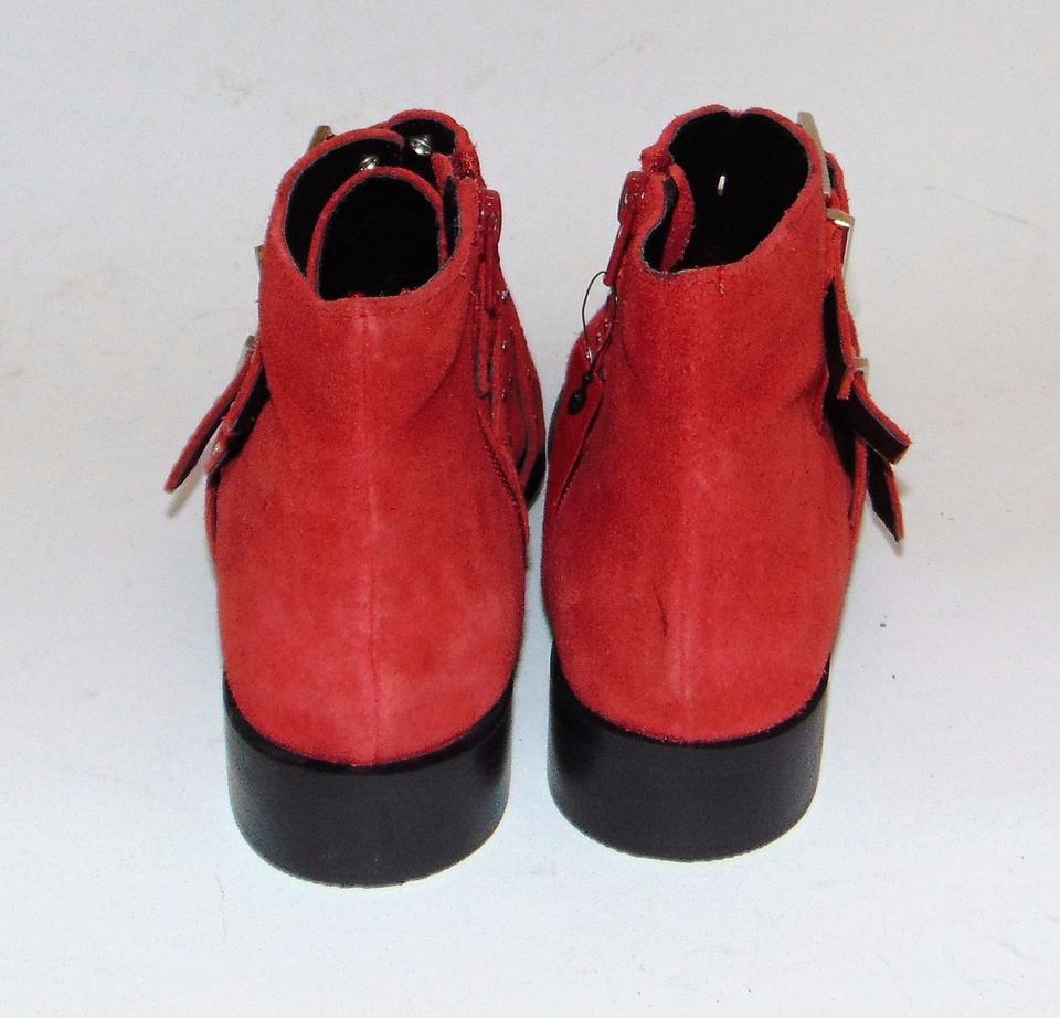 Booties Boots Topshop Suede Studded Buckles Red Krown WqZXZwYa