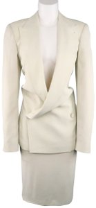 Jean-Paul Gaultier Size 10 Off White Double Breasted Peak Lapel Skirt Suit