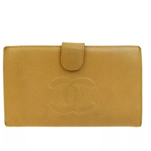 Chanel CHANEL CC Logos Long Bifold Caviar Skin Leather
