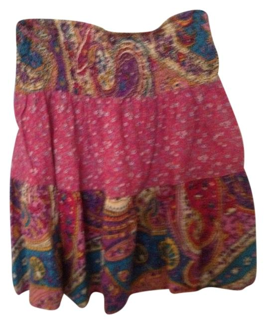 fire by Los Angeles Mini Mini Cover Up Mini Skirt Pinks and Blue