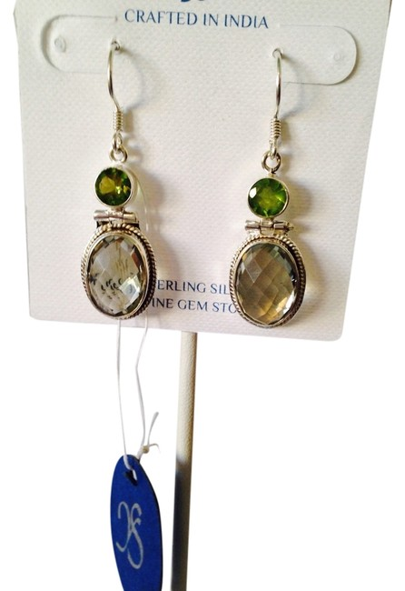 Item - Green/Silver Nwot Checkerboard Faceted Top Prasiolite & Peridot Gemstone In Sterling Earrings Only Matching Necklace Sold
