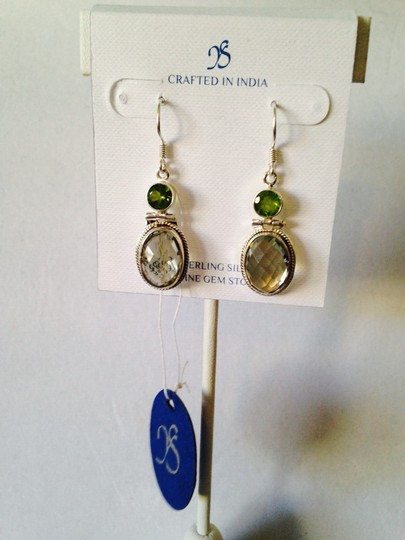 JS Collections NWOT Checkerboard Faceted Top Prasiolite & Peridot Gemstone In Sterling Silver Earrings Only! Matching Necklace Sold Seperately