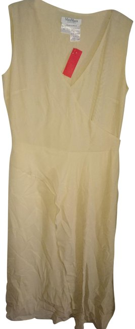 Item - Cream Made In Italy Silk Mid-length Work/Office Dress Size 10 (M)