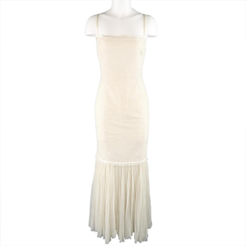 Ralph Lauren Collection Cream Beaded Drop Waist Tulle Gown Long