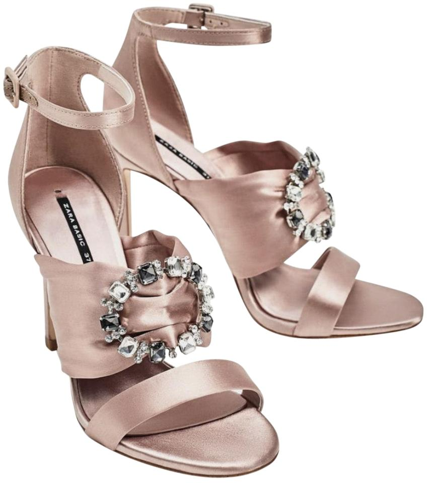 1fa0bd2bcadf72 Zara Pink Satin High Heel Sandals Jeweled Buckle Pumps Size US 8 ...