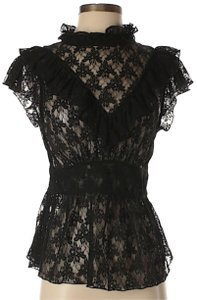 Free People Lace Floral Ruffle Top Black