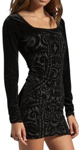 Free People Longsleeve Jacquard Velvet Sheath Bodycon Dress