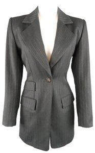 Saint Laurent Pinstripe Wool Blazer Oversized Single Button Coat