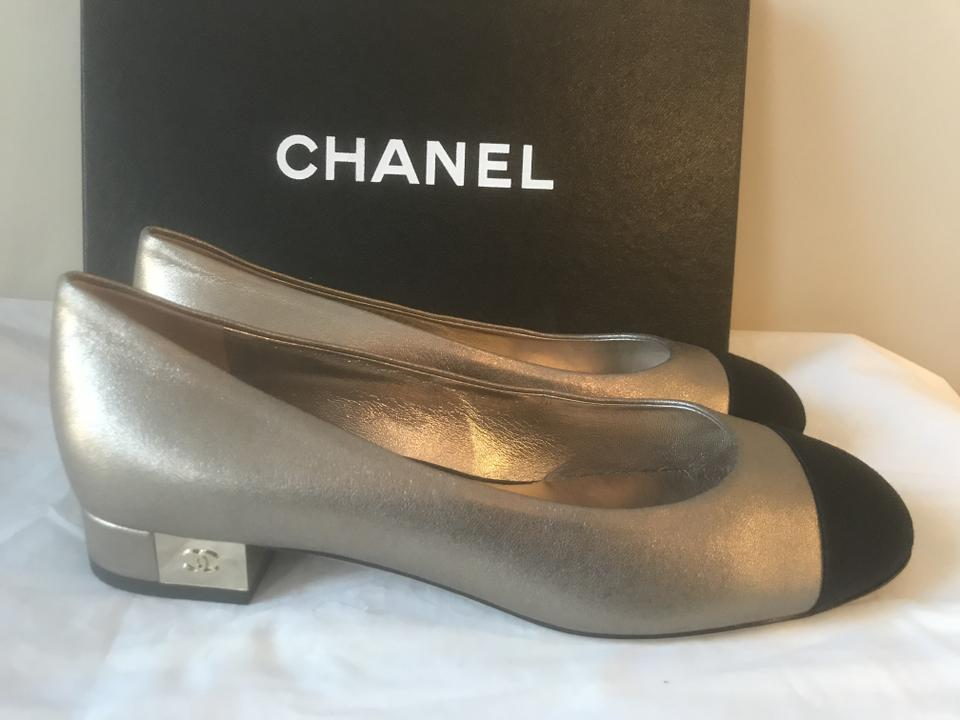 752c0ec68255 Chanel Silver Black 16k Cc Metallic Leather Loafers Moccasin Cc Heel Flats  Size EU 37 (Approx. US 7) Regular (M