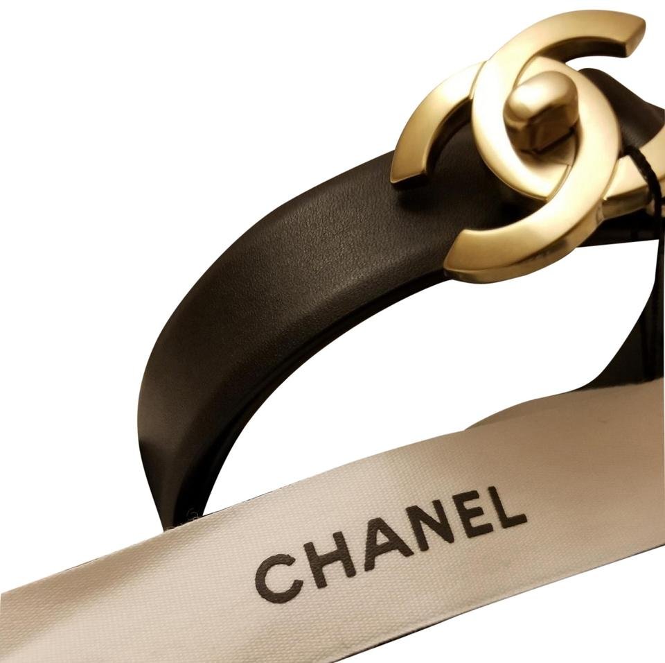 410f34153 Chanel Chanel Womens Leather CC Turnlock Belt in Black with Light Gold  Hardware size 95 Image ...
