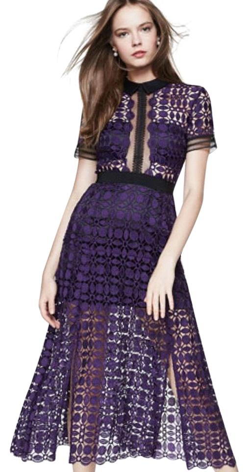 self-portrait Purple Guipure Lace Midi Long Cocktail Dress Size 2 ...
