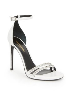 Saint Laurent Studded Ysl Pumps Heels Strappy White Sandals