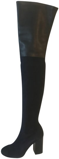 Preload https://img-static.tradesy.com/item/22818798/chanel-navy-blueblack-17b-stretch-leather-suede-thigh-high-over-knee-heels-bootsbooties-size-eu-37-a-0-1-540-540.jpg