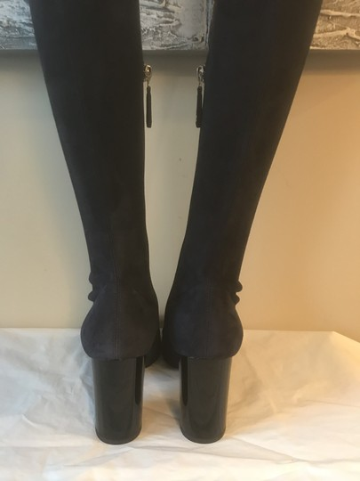 Chanel Cc Suede Thigh High Over The Knee Navy Blue/Black Boots Image 1