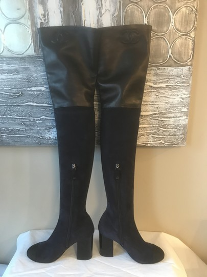 Chanel Cc Suede Thigh High Over The Knee Navy Blue/Black Boots Image 10