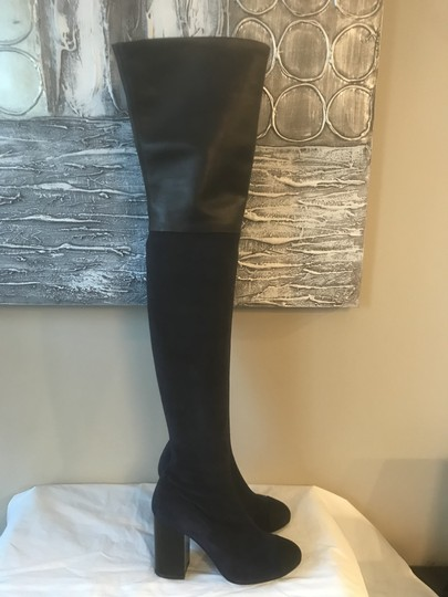 Chanel Cc Suede Thigh High Over The Knee Navy Blue/Black Boots Image 11