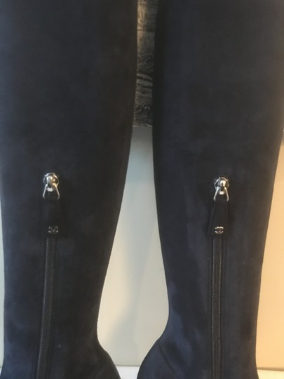 Chanel Cc Suede Thigh High Over The Knee Navy Blue/Black Boots Image 5