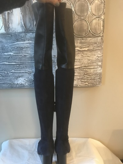 Chanel Cc Suede Thigh High Over The Knee Navy Blue/Black Boots Image 6