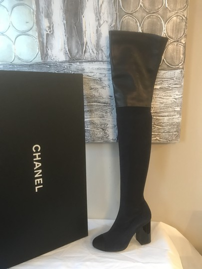 Chanel Cc Suede Thigh High Over The Knee Navy Blue/Black Boots Image 7