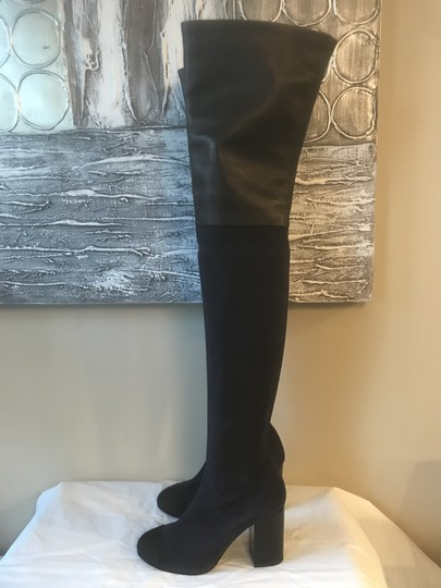 Chanel Cc Suede Thigh High Over The Knee Navy Blue/Black Boots Image 8