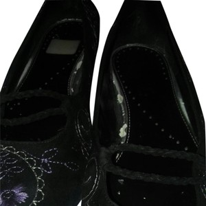 Richard Tyler Black suede with purple , lilac embroidery Flats