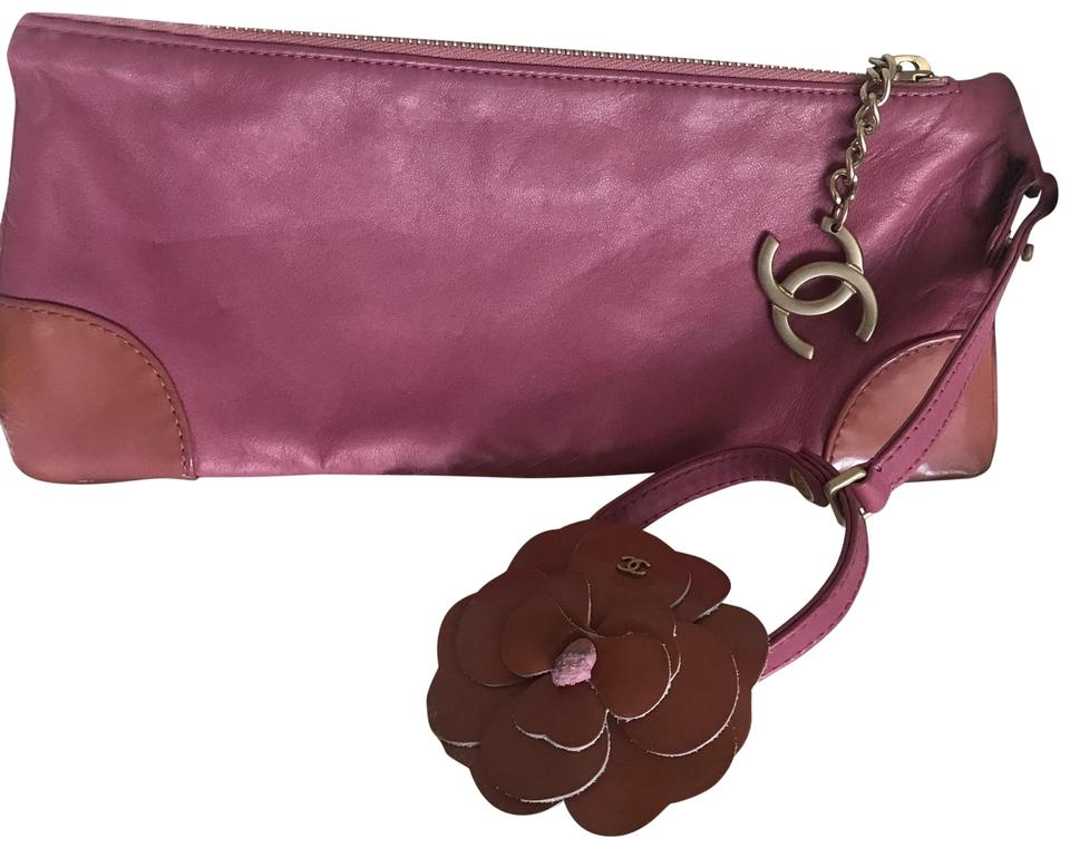 d14c9ac61868 Chanel Leather Patent Gold Tone Luxury Wristlet in Pink Image 0 ...
