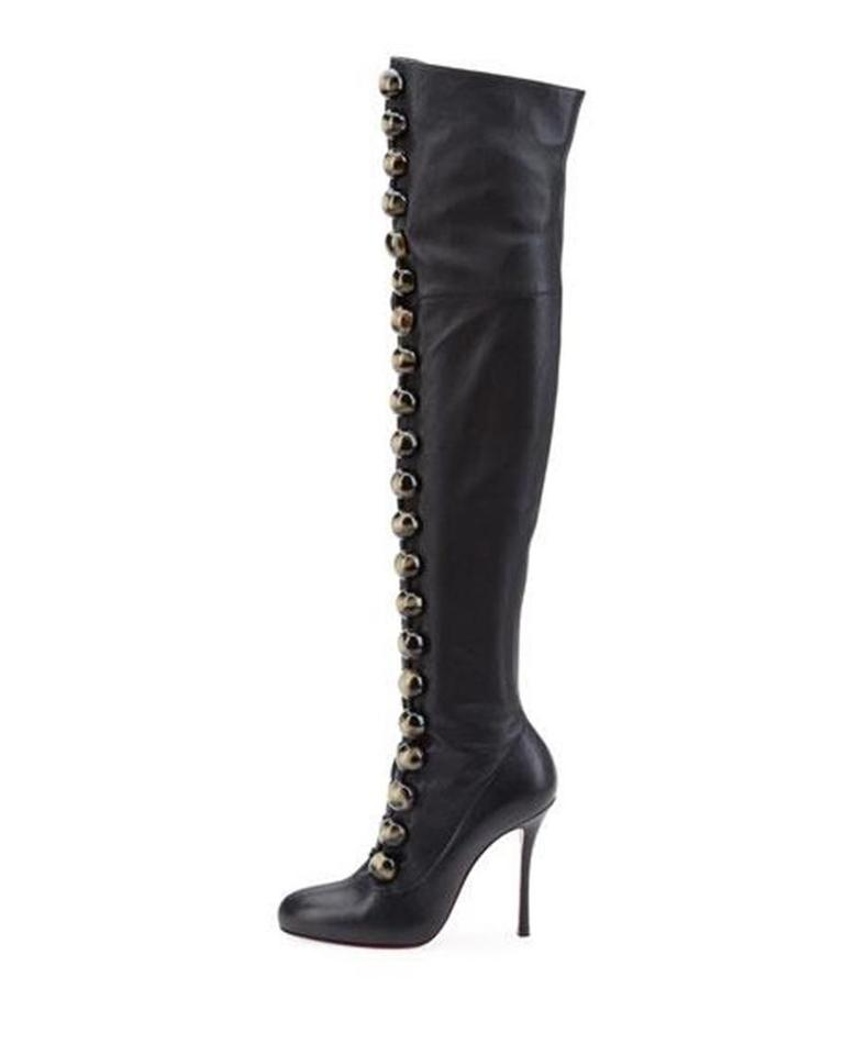 quality design f4d6c 477ef Christian Louboutin Black Button Fabiola 100 Leather Thigh High Over The  Knee Heels Boots/Booties Size EU 37.5 (Approx. US 7.5) Regular (M, B) 16%  off ...
