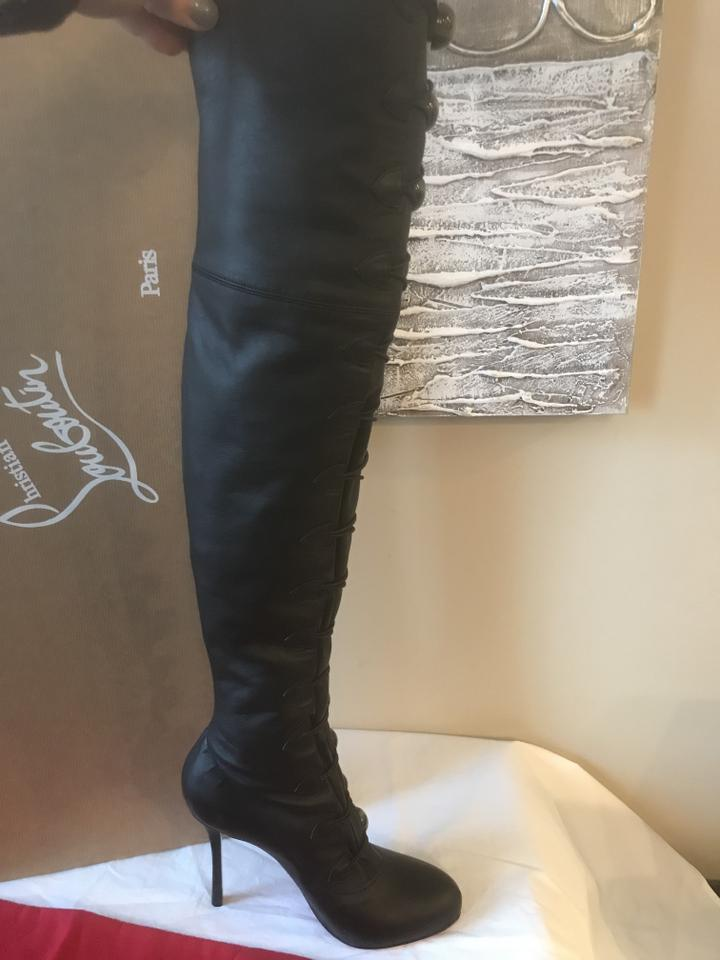 7c40f8bc03ca Christian Louboutin Heels Thigh High Over The Knee Black Button Boots Image  11. 123456789101112