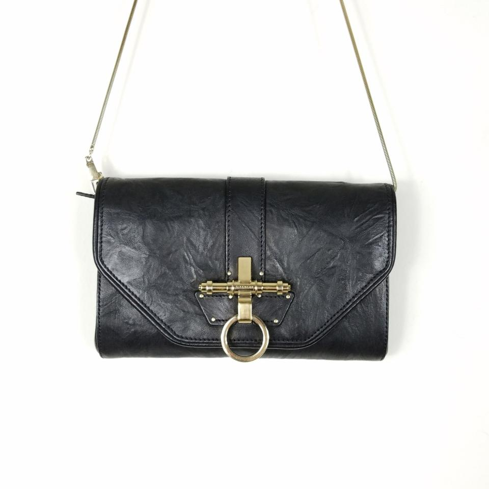 a98903909064 Givenchy Obsedia Clutch with Chain Black Leather Shoulder Bag - Tradesy