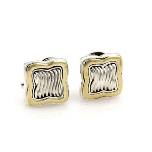 David Yurman 18k Yellow Gold & Sterling Silver Quatrefoil Cable Post Clip Earrings