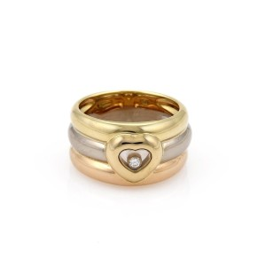 Chopard Happy Diamond 18k Tricolor Gold Triple Row Band Heart Ring Size 7.5