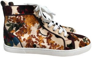 Christian Louboutin Velvet Floral Logo Sneakers Nude Multicolor Athletic
