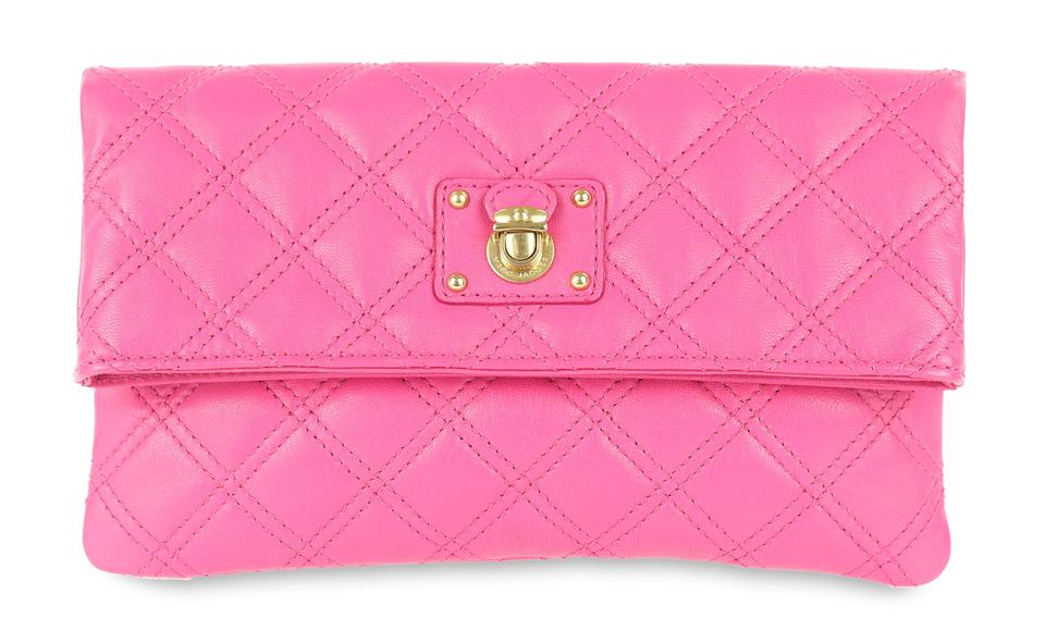 70a4df98356 Marc Jacobs Quilted Flap Pink Leather Clutch - Tradesy