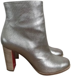 Christian Louboutin Leather Zip Silver Boots