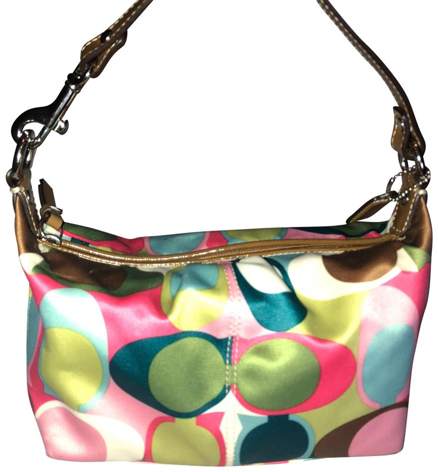 8f7494fe62 Coach Large C Design Colorful..pink Teal Brown Ivory Green Satin and Leather  Hobo Bag