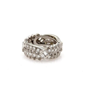 Other Vintage Platinum 1.80ct Diamond Floral Design Wide Band Ring 5.5