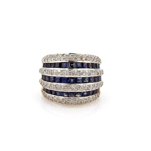 Other Estate 3.15ct Diamond & Sapphire 18k Gold Wide Dome Band Ring Size 5.5