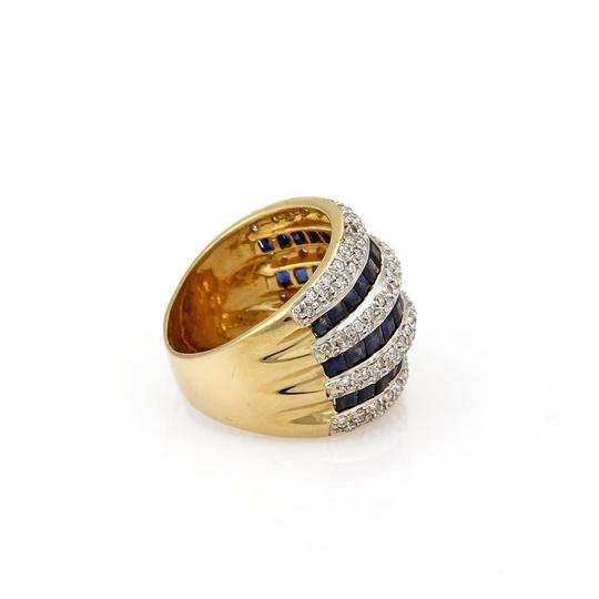 Other Estate 3.15ct Diamond & Sapphire 18k Gold Wide Dome Band Ring Size 5.5 Image 2