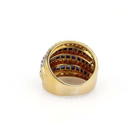 Other Estate 3.15ct Diamond & Sapphire 18k Gold Wide Dome Band Ring Size 5.5 Image 3